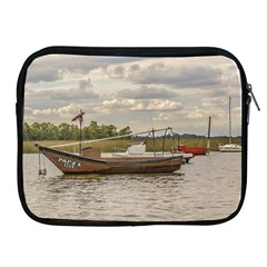 Fishing And Sailboats At Santa Lucia River In Montevideo Apple iPad 2/3/4 Zipper Cases