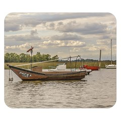 Fishing And Sailboats At Santa Lucia River In Montevideo Double Sided Flano Blanket (small)