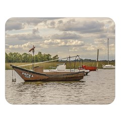 Fishing And Sailboats At Santa Lucia River In Montevideo Double Sided Flano Blanket (Large)