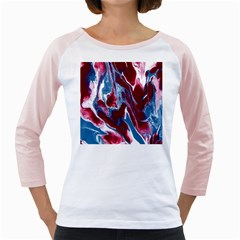 Blue Red White Marble Pattern Girly Raglans