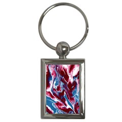 Blue Red White Marble Pattern Key Chains (Rectangle)