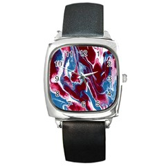 Blue Red White Marble Pattern Square Metal Watches