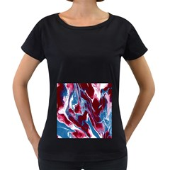 Blue Red White Marble Pattern Women s Loose Fit T Shirt (black)
