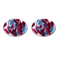 Blue Red White Marble Pattern Cufflinks (Oval)