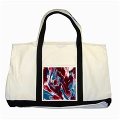 Blue Red White Marble Pattern Two Tone Tote Bag