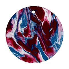 Blue Red White Marble Pattern Round Ornament (two Sides)