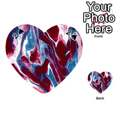 Blue Red White Marble Pattern Playing Cards 54 (heart)