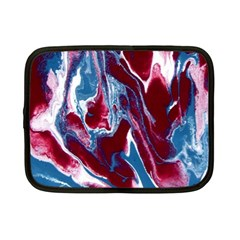 Blue Red White Marble Pattern Netbook Case (Small)