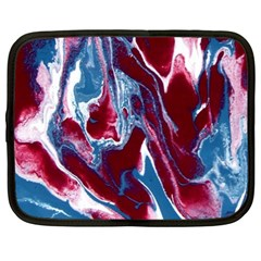 Blue Red White Marble Pattern Netbook Case (large)