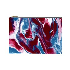 Blue Red White Marble Pattern Cosmetic Bag (large)