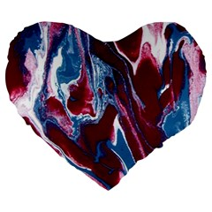 Blue Red White Marble Pattern Large 19  Premium Heart Shape Cushions