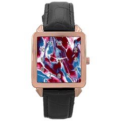 Blue Red White Marble Pattern Rose Gold Watches