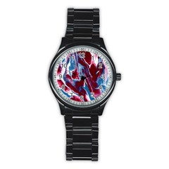 Blue Red White Marble Pattern Stainless Steel Round Watches