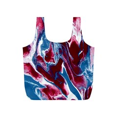 Blue Red White Marble Pattern Full Print Recycle Bags (S)