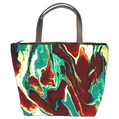 Brown Beige Marble Pattern Bucket Bags