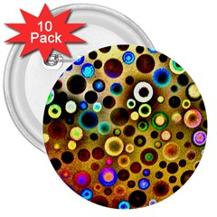 Colourful Circles Pattern 3  Buttons (10 pack)