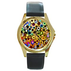 Colourful Circles Pattern Round Gold Metal Watches