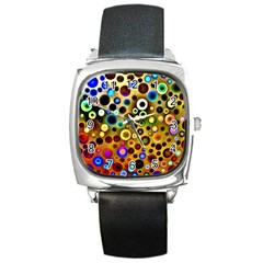 Colourful Circles Pattern Square Metal Watches