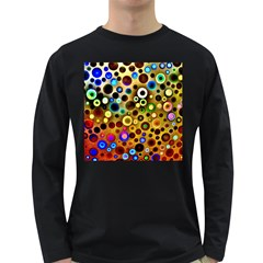 Colourful Circles Pattern Long Sleeve Dark T Shirts