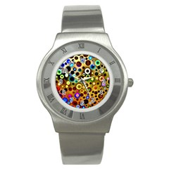 Colourful Circles Pattern Stainless Steel Watches