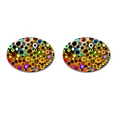 Colourful Circles Pattern Cufflinks (oval)