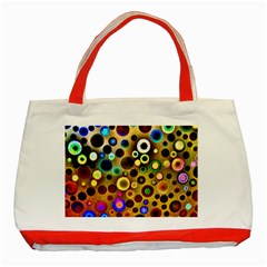 Colourful Circles Pattern Classic Tote Bag (Red)