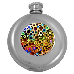 Colourful Circles Pattern Round Hip Flask (5 oz)