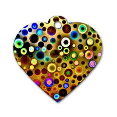 Colourful Circles Pattern Dog Tag Heart (Two Sides)