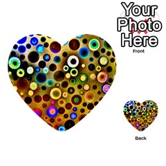 Colourful Circles Pattern Multi-purpose Cards (Heart)