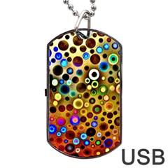 Colourful Circles Pattern Dog Tag USB Flash (One Side)