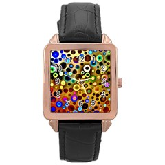 Colourful Circles Pattern Rose Gold Watches