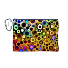 Colourful Circles Pattern Canvas Cosmetic Bag (M)