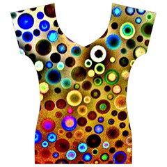 Colourful Circles Pattern Women s V-Neck Cap Sleeve Top