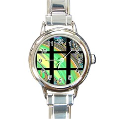 Black Window With Colorful Tiles Round Italian Charm Watches