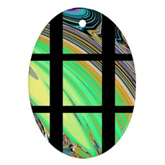 Black Window With Colorful Tiles Ornament (oval)