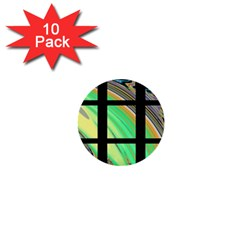 Black Window with Colorful Tiles 1  Mini Buttons (10 pack)
