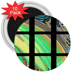 Black Window With Colorful Tiles 3  Magnets (10 Pack)