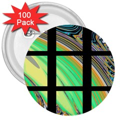 Black Window with Colorful Tiles 3  Buttons (100 pack)