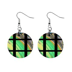 Black Window with Colorful Tiles Mini Button Earrings