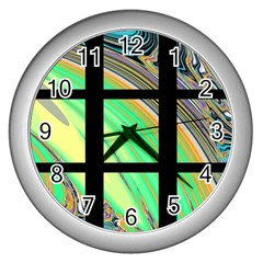 Black Window With Colorful Tiles Wall Clocks (silver)