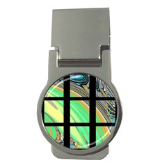 Black Window with Colorful Tiles Money Clips (Round)