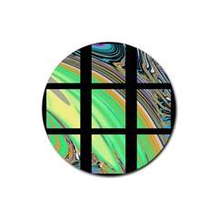 Black Window with Colorful Tiles Rubber Round Coaster (4 pack)