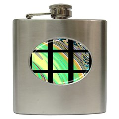 Black Window with Colorful Tiles Hip Flask (6 oz)