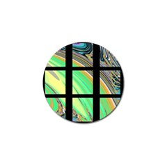 Black Window With Colorful Tiles Golf Ball Marker