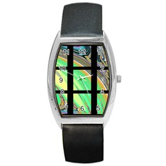 Black Window With Colorful Tiles Barrel Metal Watches