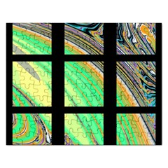 Black Window with Colorful Tiles Rectangular Jigsaw Puzzl