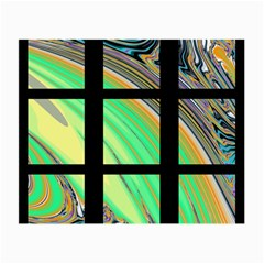 Black Window with Colorful Tiles Small Glasses Cloth