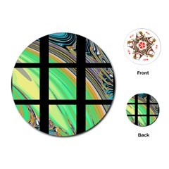 Black Window With Colorful Tiles Playing Cards (round)