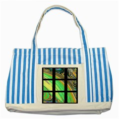 Black Window With Colorful Tiles Striped Blue Tote Bag