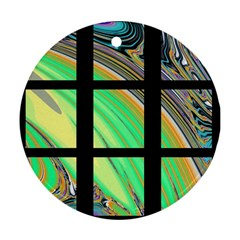 Black Window with Colorful Tiles Round Ornament (Two Sides)